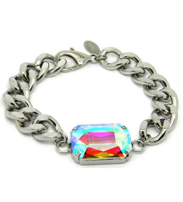"Zbella 7.5"" AB Crystal Chunky Stainless Steel Curb Chain Bracelet - CC128J9ZQ63"