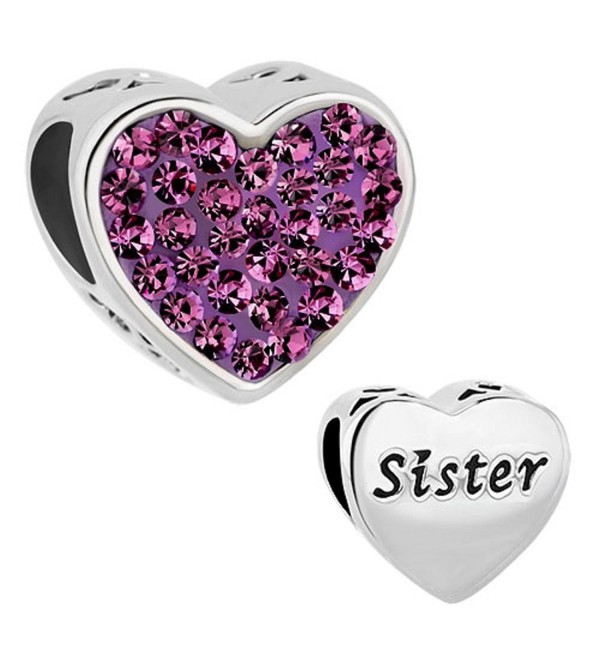 Heart of Charms Love Heart Sister Charms Charm Beads For Bracelets - Purple - CE1839394DQ