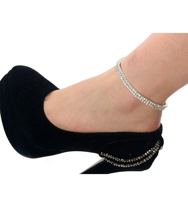 Imixlot 2 Row Chain Sexy Rhinestones Stretch Anklet Bracelet for Women Lady - CG11L4DZVU3