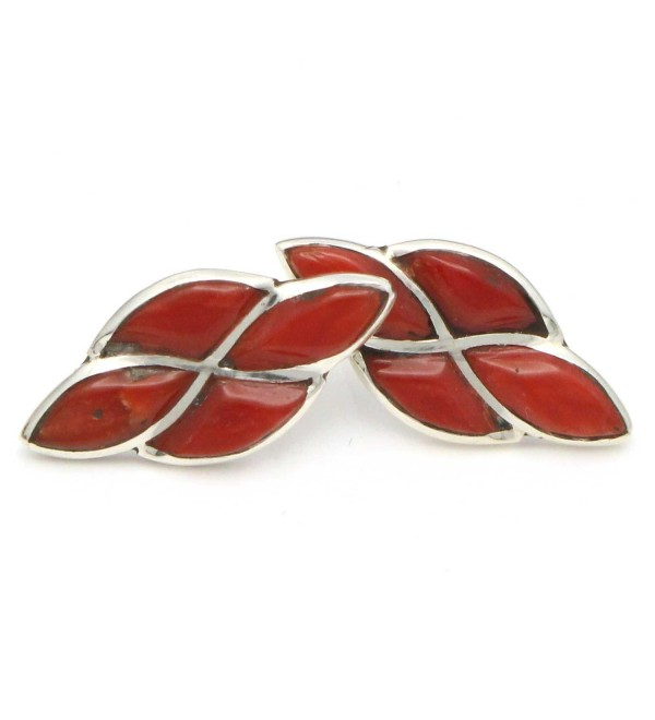 Zuni Sterling SilverChannel Inlay Coral Stud Earringw Handcrafted By D. Chavez - CN1887KHTKT