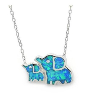 Created Opal Elephant Necklace Family Mother Baby Blue Sterling Silver 17-inches - CZ185U2W4CD