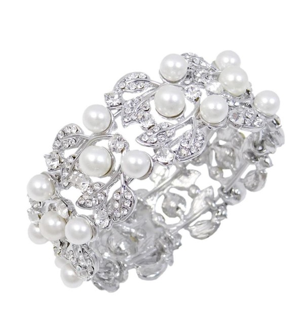EVER FAITH Flower Ivory Color Cream Simulated Pearl Bracelet Clear Austrian Crystal Silver-Tone - CT11BGDOESB