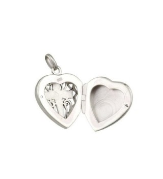 WithLoveSilver 925 Sterling Silver Filigree Cross Heart Shape Locket Pendant - CZ11WSIBUQH