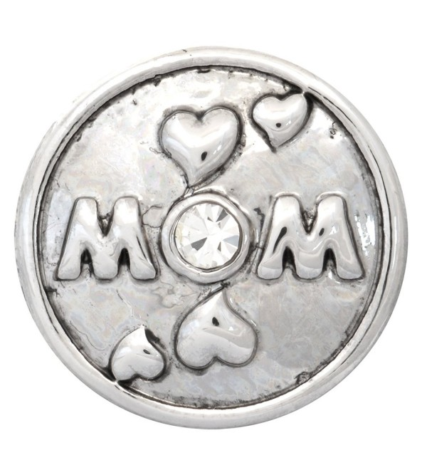 Mom with Hearts Silver Nugz - interchangeable jewelry snap - C411P07QQJJ