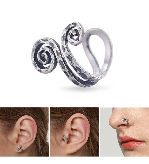 Aifeer Cool Handmade Single Nose Ring Ear Cuff Earring Clip Coiled S925 Sterling Silver 3 Ways to Wear - C1182X2A23K