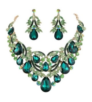 BriLove Bohemian Teardrop Statement Gold Tone - Emerald Color Gold-Tone - C9185SD6Q48