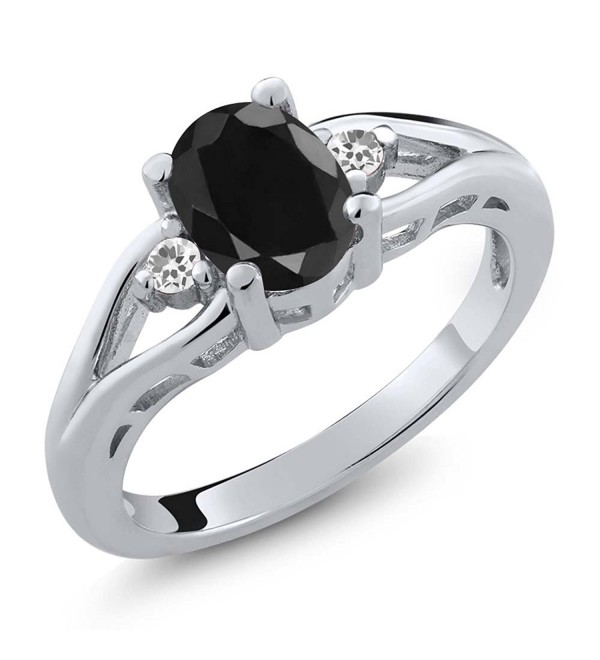 1.70 Ct Oval Black Sapphire and White Sapphire 925 Sterling Silver Women's 3 Stone Ring - CX1190QS9BJ