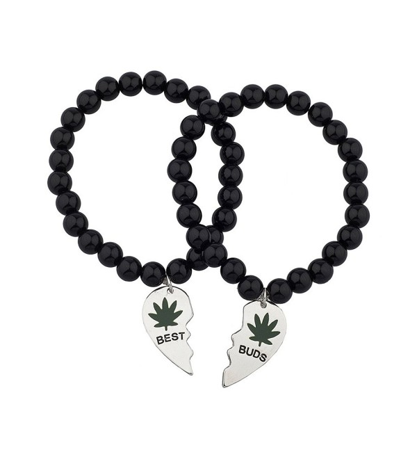 Lux Accessories Black Beaded Best Buds Weed 420 Marijuana BFF Best Friends Matching Bracelet Set - Silver - CX120RWU72X