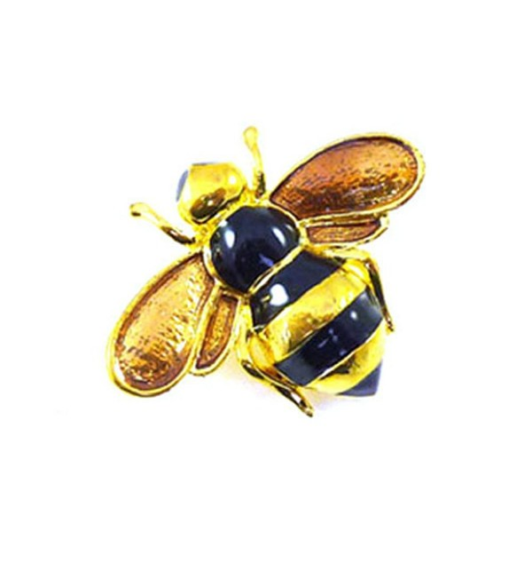 Brooches Store Small Black Enamel and Gold Bee Brooch - CY115BLKLX1