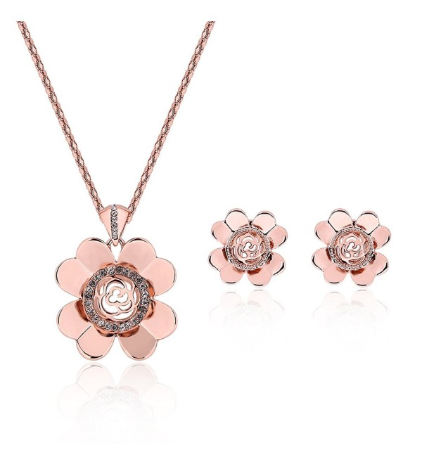 Costume Fashion Necklace Earrings Christmas - Rose Gold - C917YTHEHW8