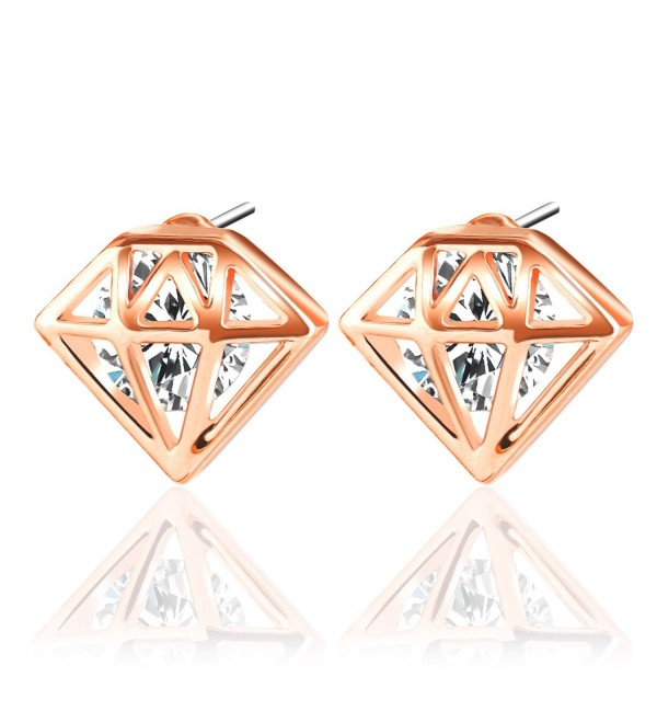 Stud Earrings- UHIBROS Unisex Stainless Steel Cubic Zirconia Diamond Shaped Earrings Stud - rose gold - CR12O6SF2C7