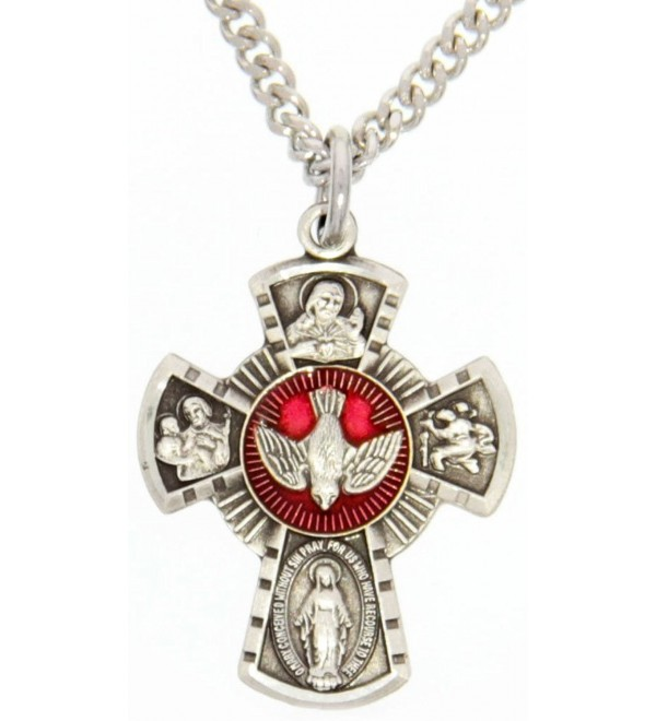 Heartland Women's Sterling Silver 4 Way Cross Pendant Red Enamel Dove Center + Best Quality USA Made - CM119PYDBZZ