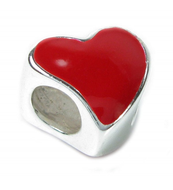 Sterling Silver Red Enamel Love Heart European Bead Charm - CX114CTPBVP