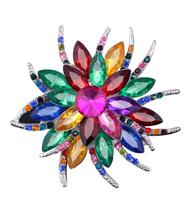 SANWOOD Wedding Bridal Large Flower Rhinestone Scarf Brooch Broach Pin Crystal Breastpin Jewelry (MultiColor) - CK183CCX5WX