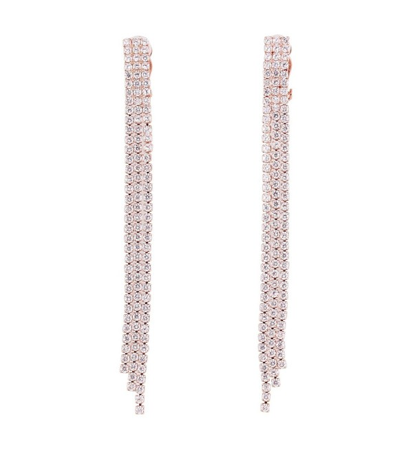 Grace Jun Earrings Pierced Gorgeous - 3 rows rose gold plated - CF1886XXDUW