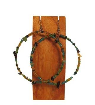 """2"""" Handmade Green Peacock Inspired Multi Color Seed Bead & Stone Chip Hoop Earrings - C8126H542PR"""