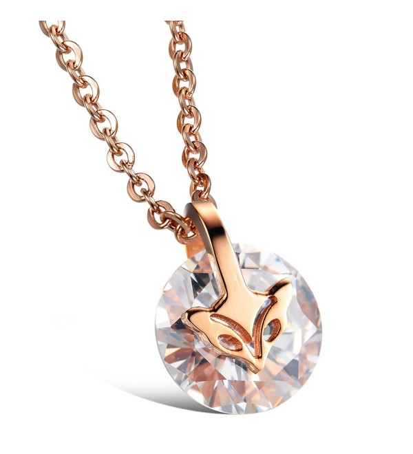 Brand New Lady's Titanium Stainless Steel Pendant Necklace Simple Korean Style in a Gift Box - CL11P9HK4EN