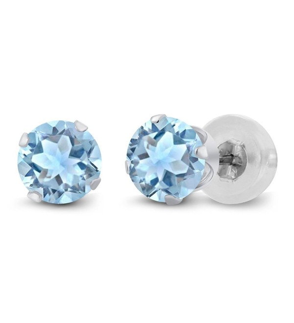 1.20 Ct Sky Blue Topaz 10K White Gold Stud Gemstone Birthstone Earrings 5MM - CM116KM3PMT