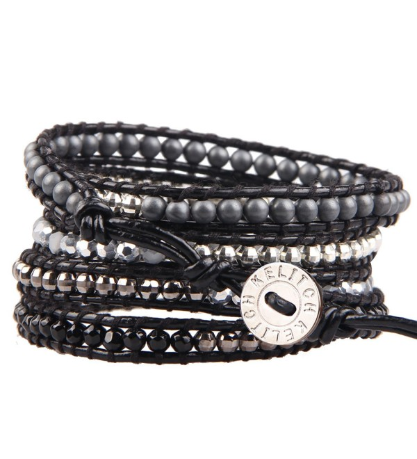 KELITCH Black Onyx and Silver-Plated Hematite Bead 5 Wrap Bracelet on Black Leather - CG12L2XLJ6J