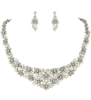 EVER FAITH Wedding Cream Simulated Pearl Orchid Cluster Jewelry Set Clear Austrian Crystal - CB11GREH4KT