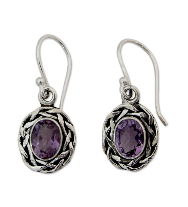 NOVICA Woven .925 Sterling Silver and Amethyst Dangle Earrings- 'Indian Basket' - C5127W1QTN3