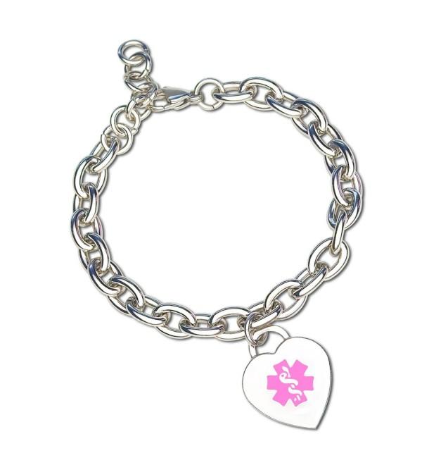 Divoti Custom Engraved Heart Charm 316L Medical Alert Bracelet for Women - Adjustable - CN12BAMVBCD
