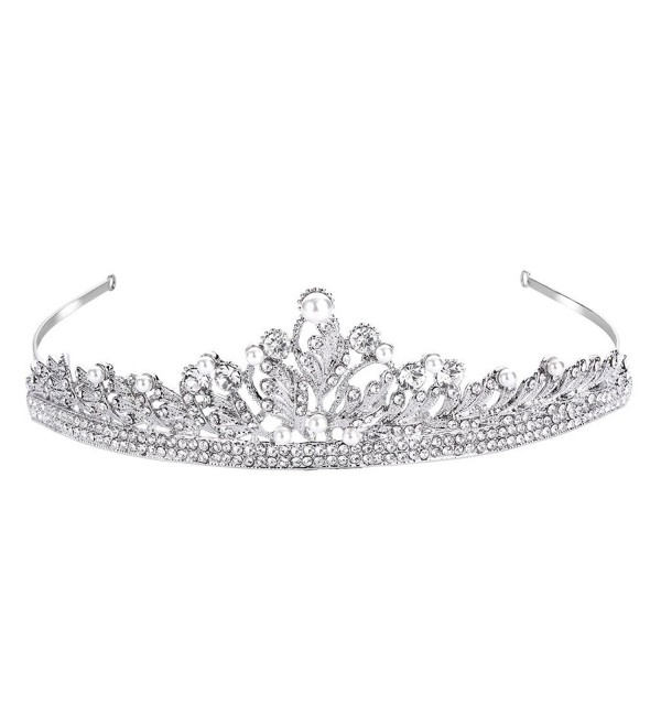 FANZE Women's Austrian Crystal Cream Simulated Pearl Vintage Leaves Vine Bridal Princess Crown Tiara Hairband - CC182YDKT0O