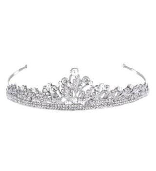 FANZE Women's Austrian Crystal Cream Simulated Pearl Vintage Leaves Vine Bridal Princess Crown Tiara Hairband - CC182YDKT0O