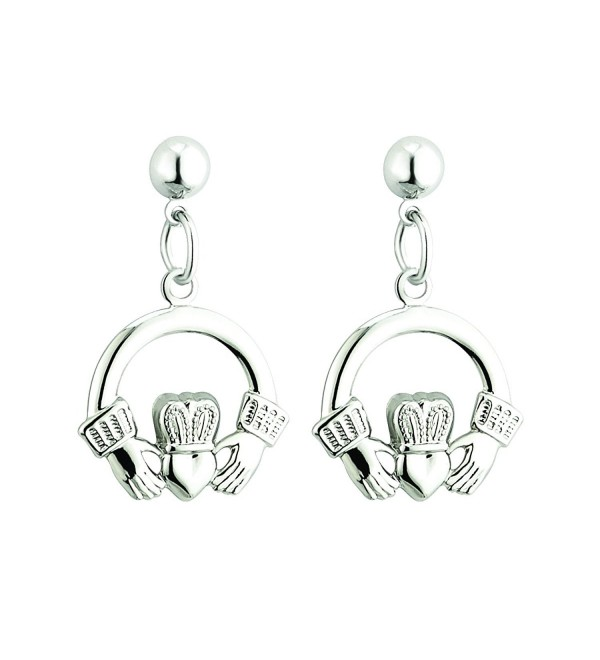 Claddagh Drop Earrings Rhodium Plated Irish Made - CY124I05T1T