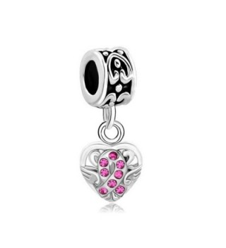 LovelyCharms Ribbon Breast Cancer Awareness Charm Heart Fits Bracelets - C512NGG0PIU