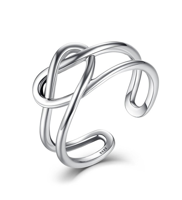 BAMOER New Arrival 925 Thai Silver Ring Infinity Celtic Knot Bands for Women Ring Set - CT17YUC2TY0