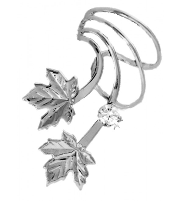 Maple Leaf with CZ Rhodium on Silver Short Wave Ear Cuff Earring Wraps - CF17YTRLL3S