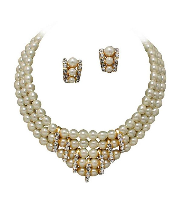 Clip-on Earrings & 3 Strand V Neck Cream Pearl and Rhinestone Bridal Necklace AA2 - CS11J0IC9I1