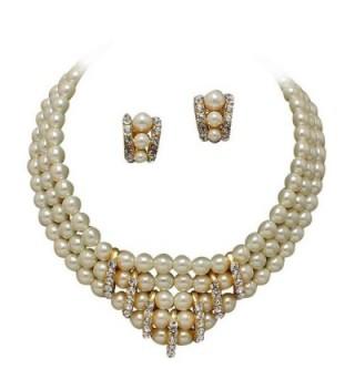 Clip-on Earrings & 3 Strand V Neck Cream Pearl and Rhinestone Bridal Necklace AA2 - CS11J0IC9I1