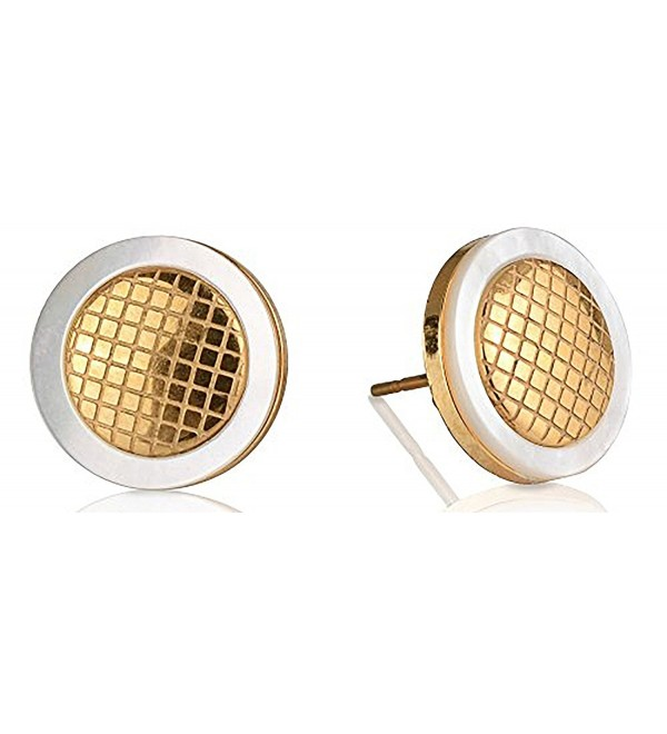Edforce Stainless Steel Women's Criss Cross Gold Stud Earrings Pattern- 12mm - CA12M1FRUC9