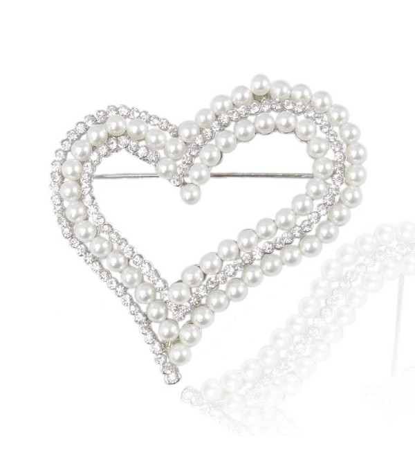 EVER FAITH Bridal Silver-Tone Dual Simulated Pearl Heart Clear Austrian Crystal Brooch - CS11DCSI01F