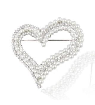 EVER FAITH Bridal Silver-Tone Dual Simulated Pearl Heart Clear Austrian Crystal Brooch - CS11DCSI01F
