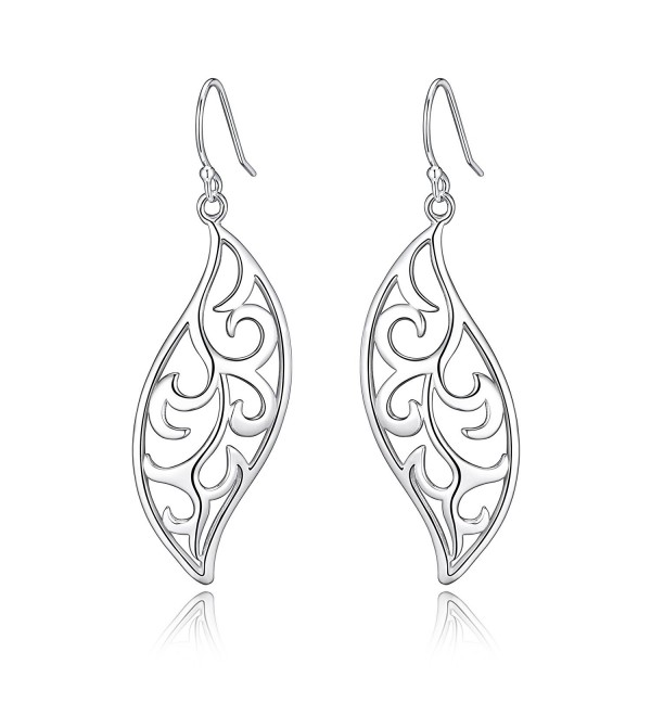Highly Polished Sterling Silver Filigree Fluttering Leaves Design Dangle Drop Earrings - C912N6KV774