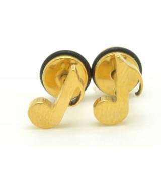 Chelsea Jewelry Basic Collections Fancy Gold Eighth Note Music Note Screw-back Stud Earrings - CX11HE1KBO5