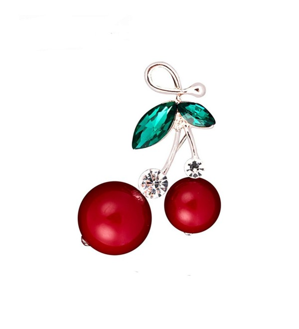 CHUYUN Rhinestone Enamel Red Cherries Charm Pin Brooch - CX182H2CR6K