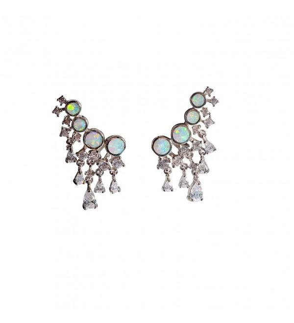 Ear cuffs opal earring drop halo earring jackets opal crawler earrings 925 sterling silver earrings - white opal - CI188I34KZ3