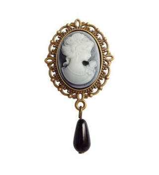 Vintage Brooch For Women Alloy Metal Beauty Picture White Drop Beads RareLove - Black - C3188E4UDRZ