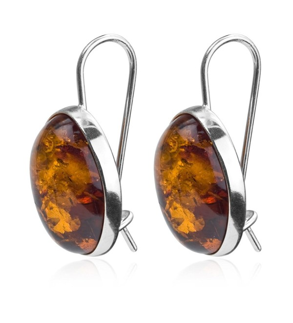 Amber Sterling Silver Oval Large Earrings - CV127PMJDYV