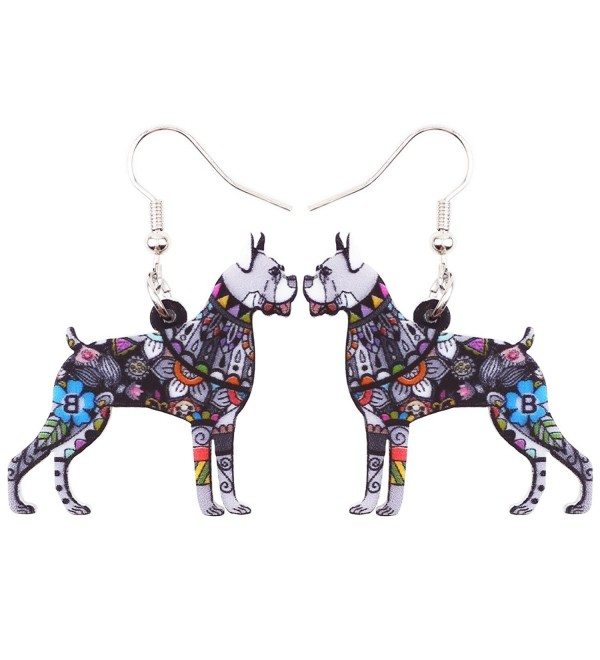 Bonsny Acrylic Drop Boxer Dog Pets Earrings Funny Design Lovely Gift For Girl Women Fashion Jewelry - Grey - CC185M7937E