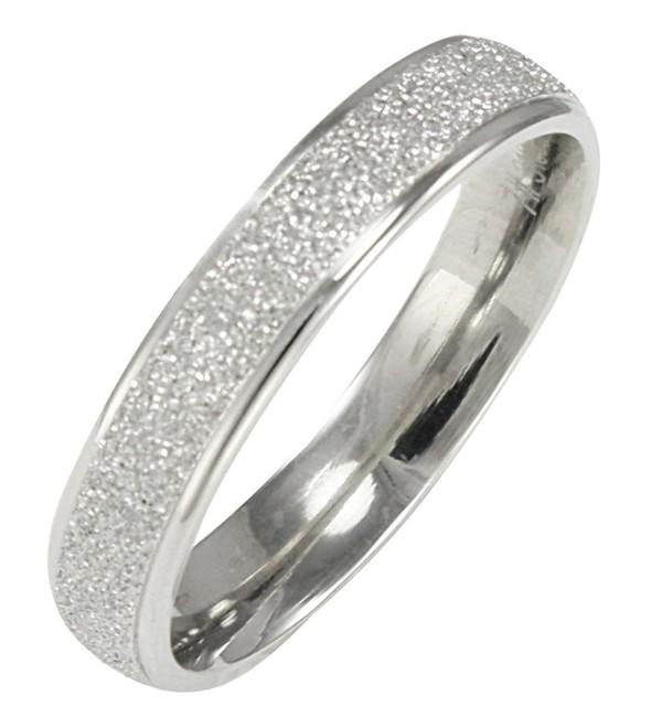 Stainless Steel Sparkle 3.8mm Band Ring - Women - CB1138K8LQL