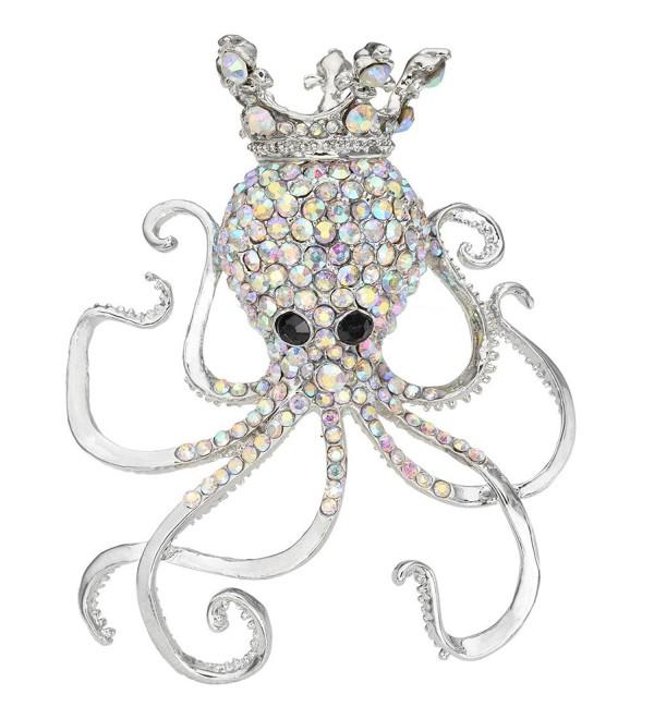EVER FAITH Women's Austrian Crystal Lovely Octopus Animal Brooch - Silver-Tone Iridescent Clear AB - CX11BGDOX2N