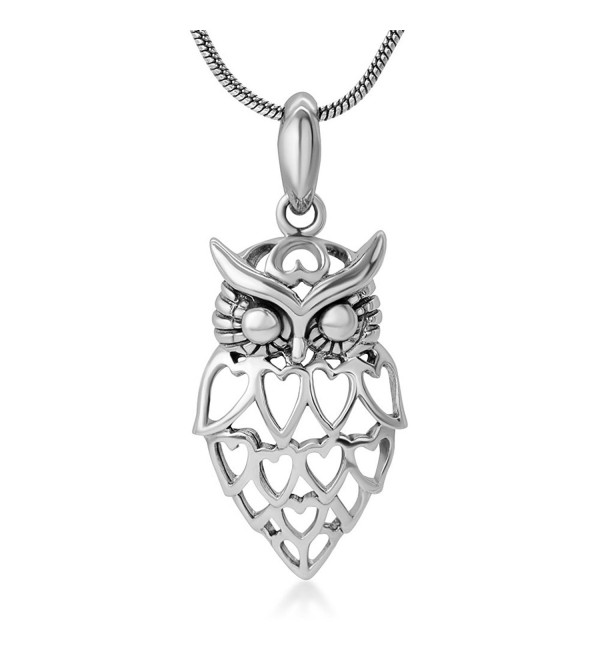 "925 Sterling Silver Open Lovely Heart Owl Wisdom Bird Pendant Necklace for Women- 18"" Chain - CH12BJVFW9J"