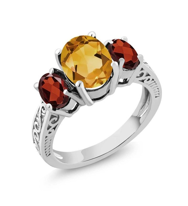 2.25 Ct Oval Yellow Citrine & Red Garnet 925 Sterling Silver 3-Stone Ring (Available in size 5- 6- 7- 8- 9) - CG11GNAJKNZ