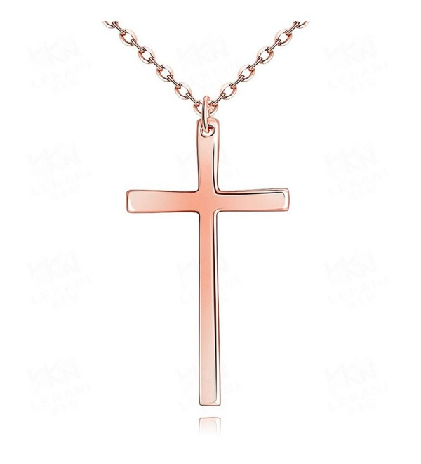 "Plain Simple Stainless Steel Polished Cross Pendant Necklace 18""/20""L Cable Chain - CW12M4W9UJ5"