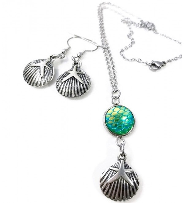 Seashell Mermaid Scale Necklace and Dangle Earrings Set - Green - C3185UX6XMA